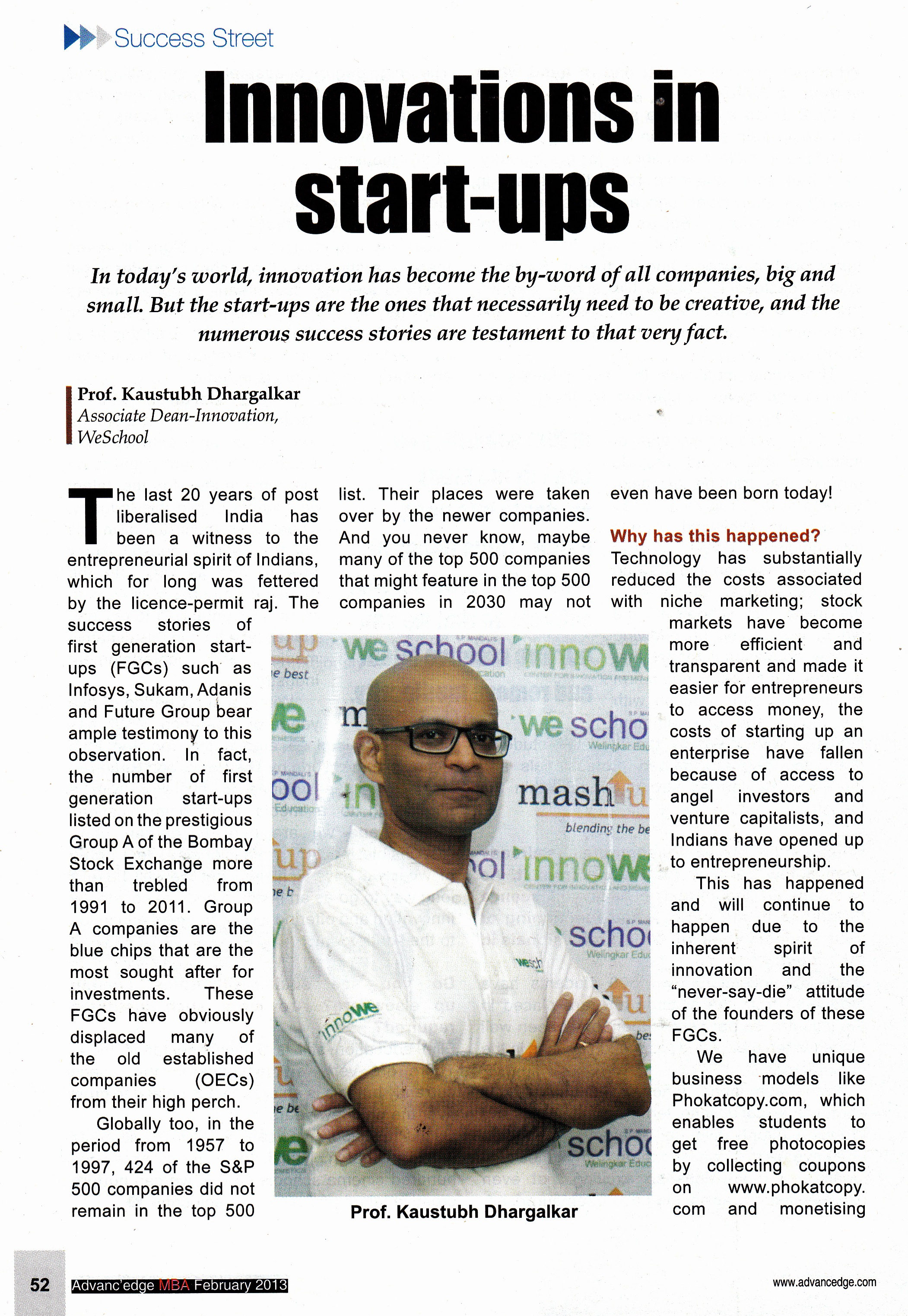 Start-ups vis-a-vis large corporations -who's got the edge? Prof Kaustubh Dhargalkar ,shares the mantra...