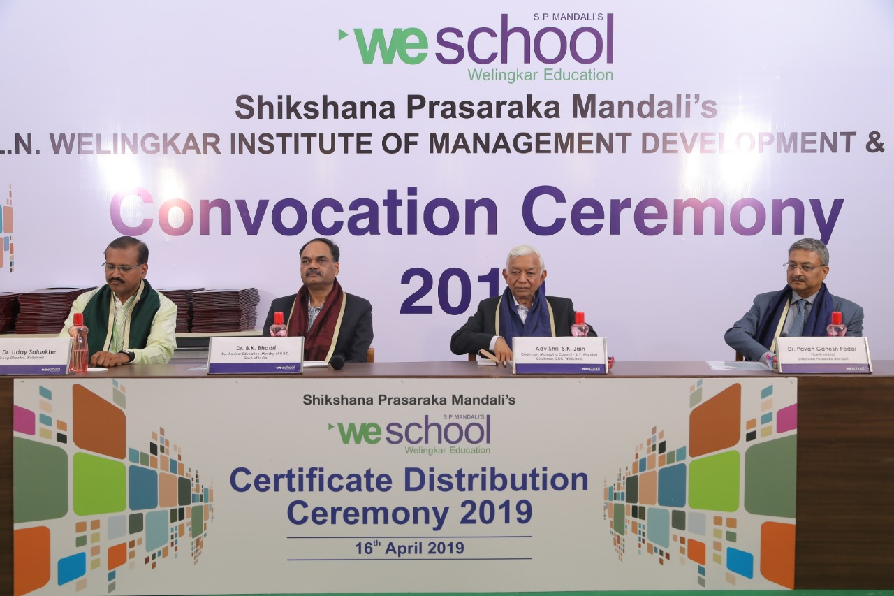 The Autonomous Division, WeSchool awarded certificates to over 227 students on their convocation day on 16 April 2019