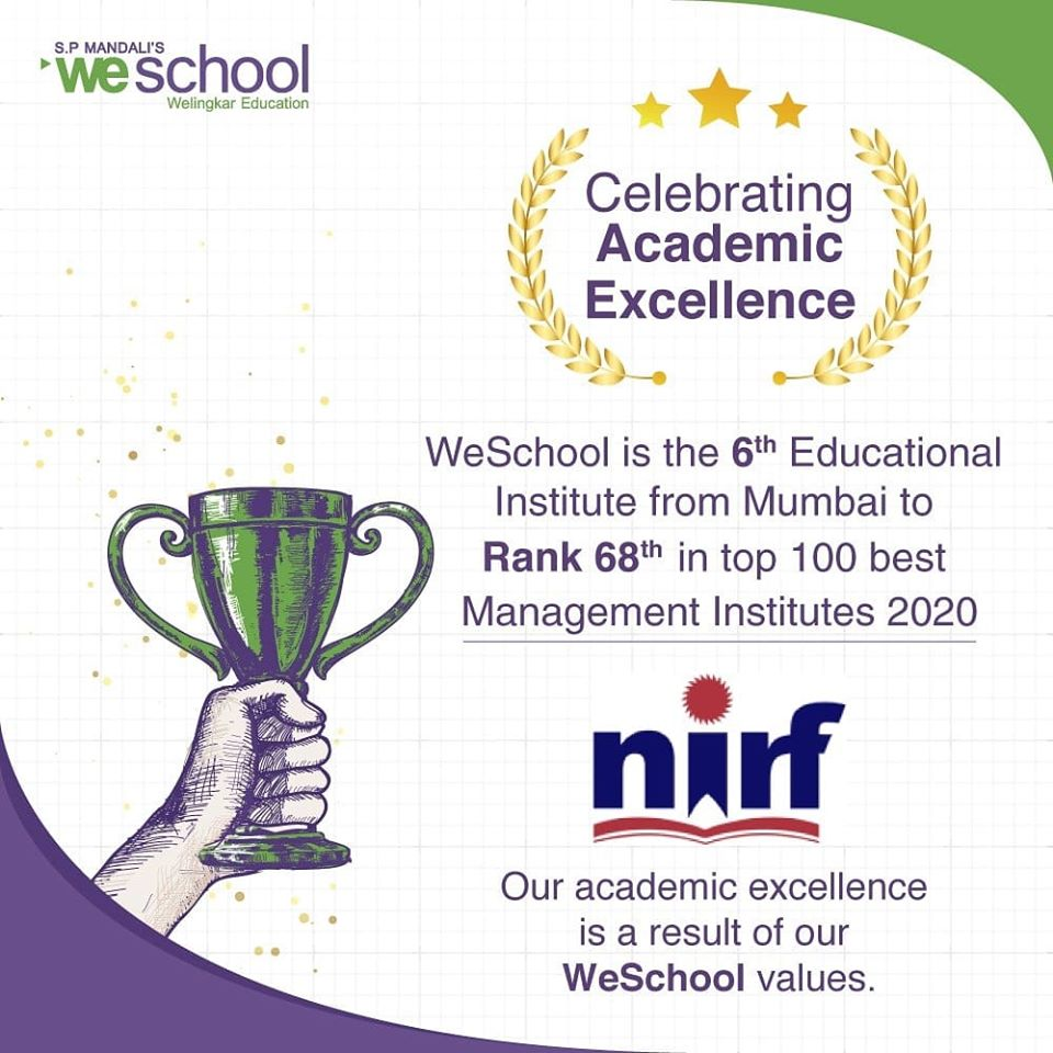 S.P. Mandali's WeSchool is the sixth educational institute from Mumbai to rank 68th in the top 100 best management institutes in the National Institutional Ranking Framework (NIRF) list of 2020