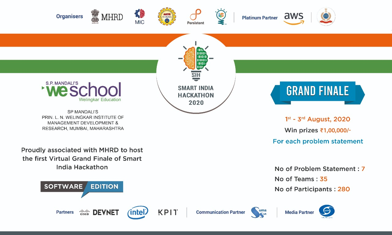 1 August 2020: S.P. Mandali's WeSchool is proud to partner as the only nodal centre from Mumbai for the first ever virtual Smart India Hackathon 2020 (Software Edition)