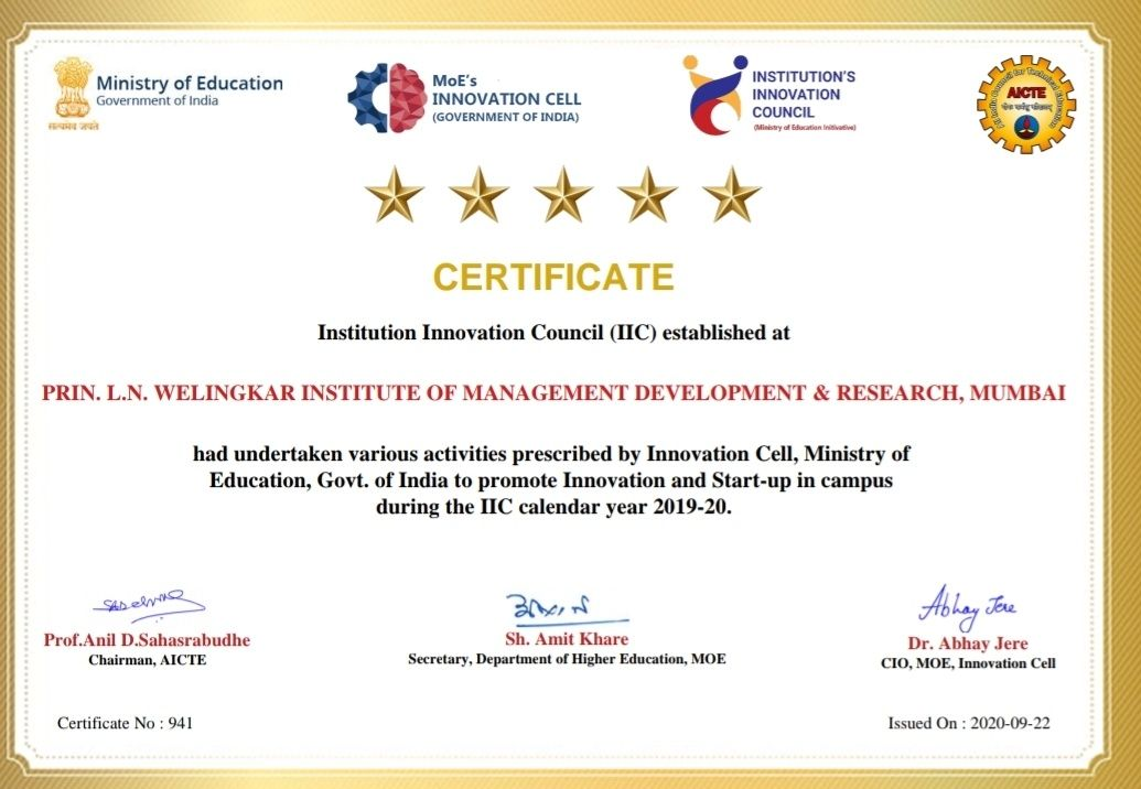 Five Stars for WeSchool by  Innovation Cell, Ministry of Education, Govt. of India